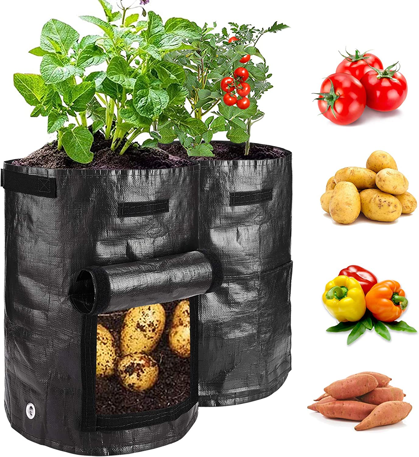 2 Pack 7 Gallon Garden Potato Grow Bags with Flap and Handles Aeration Fabric Planter Pots , Heavy Duty Potato Planters Garden Planting Bags for Onion, Fruits, Tomato, Carrot (Black)