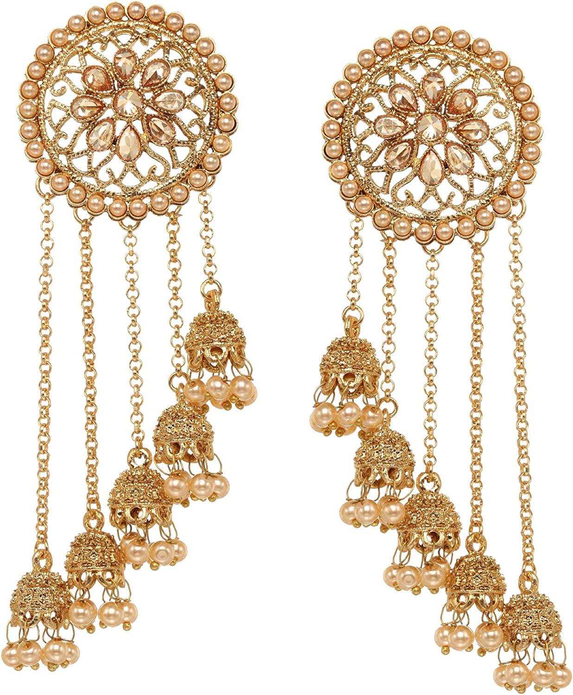 GOLD INDIAN COSTUME JEWELLERY BAHUBALI EARRINGS JHUMKA JHUMKI CRYSTAL BRIDAL
