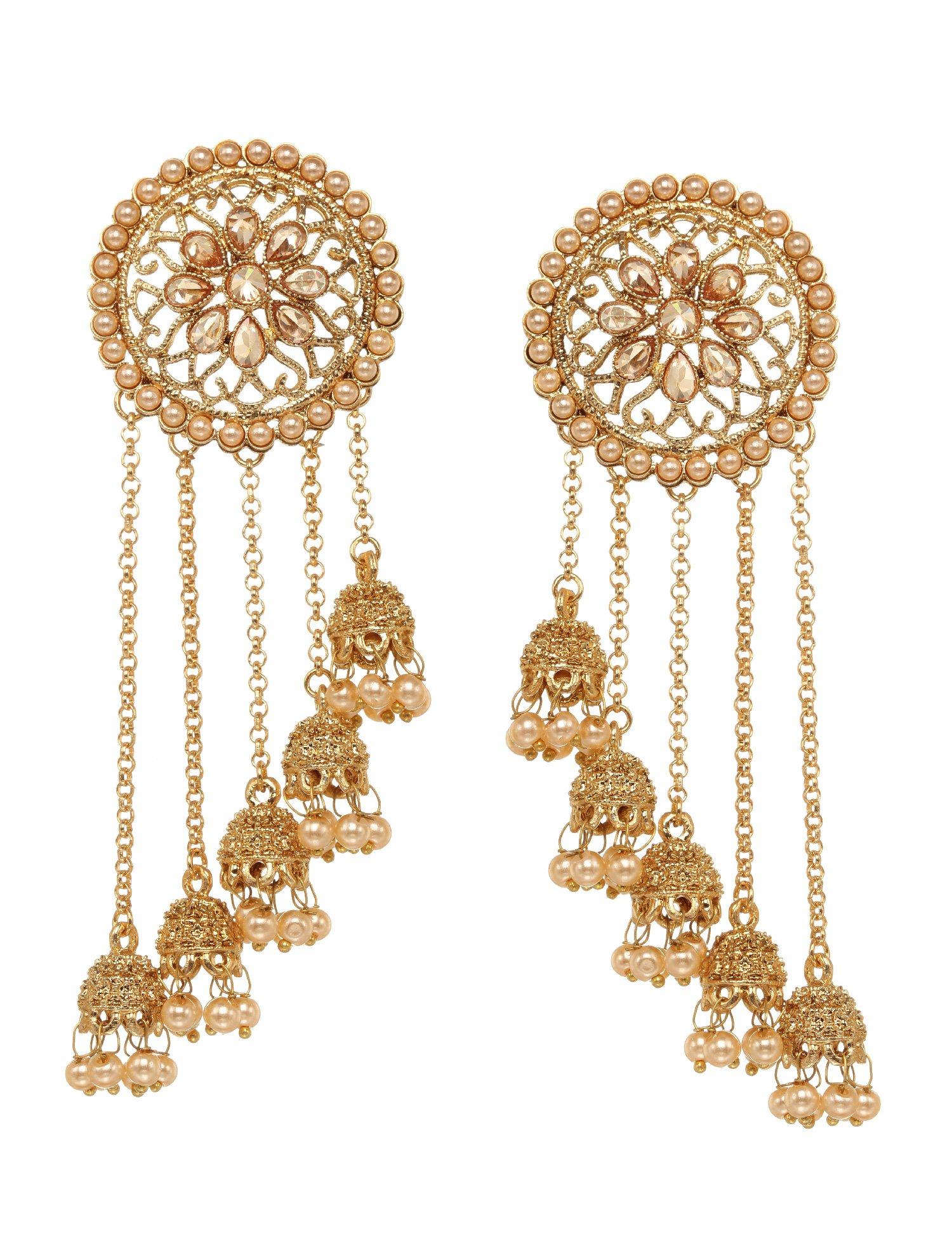 Bindhani Premium Quality Indian Wedding Jewelry Long Chain Indian Bahubali Bollywood Jhumka Jhumki Earrings For Women