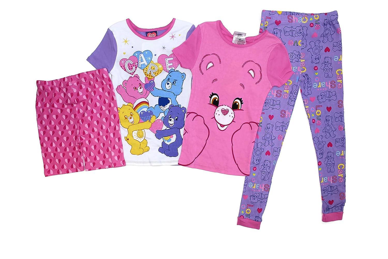 Komar Kids Girls 4 Piece Pajamas Sleepwear Set With Shorts and Pants Care Bears, 2T