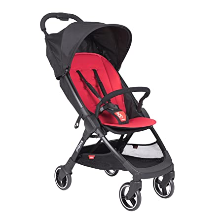 phil teds Go Umbrella Travel Stroller, Cherry Ultra Light 11lbs Compact, One Hand Stand Fold Removable Bumper Bar Removable and Reversible Seat Liner Travel System Ready Full Suspension