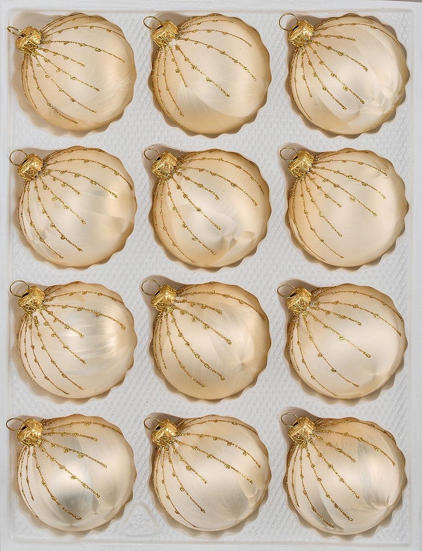 Christbaumkugeln Hochwertig.12 Tlg Glas Weihnachtskugeln Set In Ice Champagner Gold