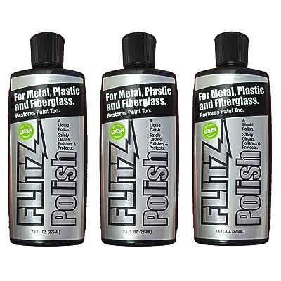 Flitz LQ 04587-3A-3PK Metal, Plastic and Fiberglass Liquid Polish, 7.6 oz. Bottle, 3-Pack: Automotive