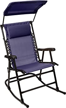 AmazonBasics Foldable Rocking Chair with Canopy in Blue