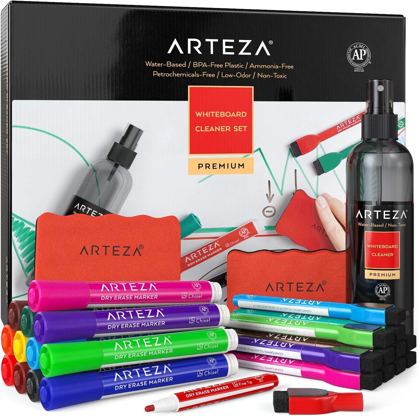 ARTEZA Kit de limpieza para pizarra blanca con 24 rotuladores (12 magnéticos y 12 de punta biselada) + 2 borradores + 1 limpiador | Ideal para limpiar pizarras, tablillas y superficies de vidrio