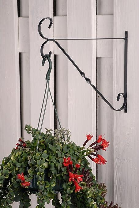 Negro metal decorativo para jardín valla soporte de pared para colgar cesta maceta soporte en elección de ofertas: Amazon.es: Jardín