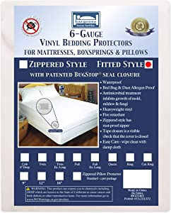 Bargoose | Fitted Mattress Cover | Vinyl Bed Protector | Guards Against Pests & Liquids | Allergen & Dust Mite Barrier | Hypoallergenic | White | 16 in Deep | Twin