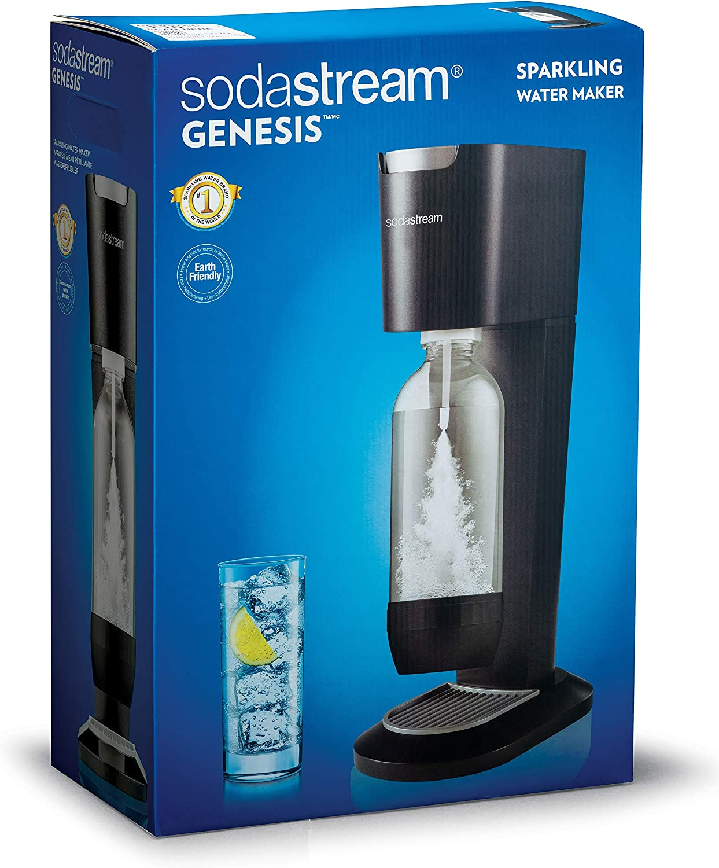 SodaStream Genesis Sparkling Water Maker Refillable Carbonated Water Maker Black 1 Litre Bottle /& 60 L CO2 Cylinder