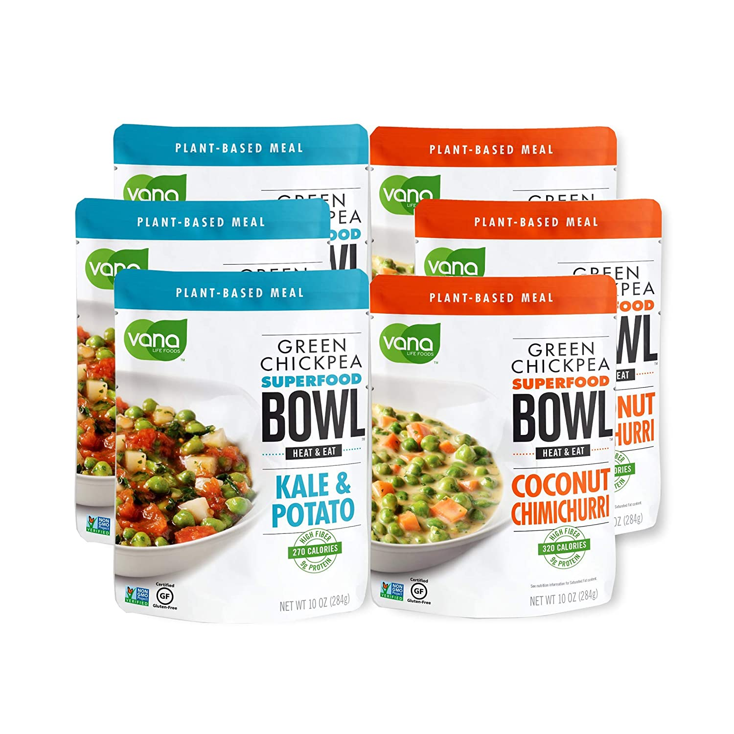 Vana Life's Foods 100% Natural Plant based SuperFood Bowl with Coconut butternut Squash and Kale Potato - Emergency Instant Protein Meals - Product of The USA (Pack of 6)