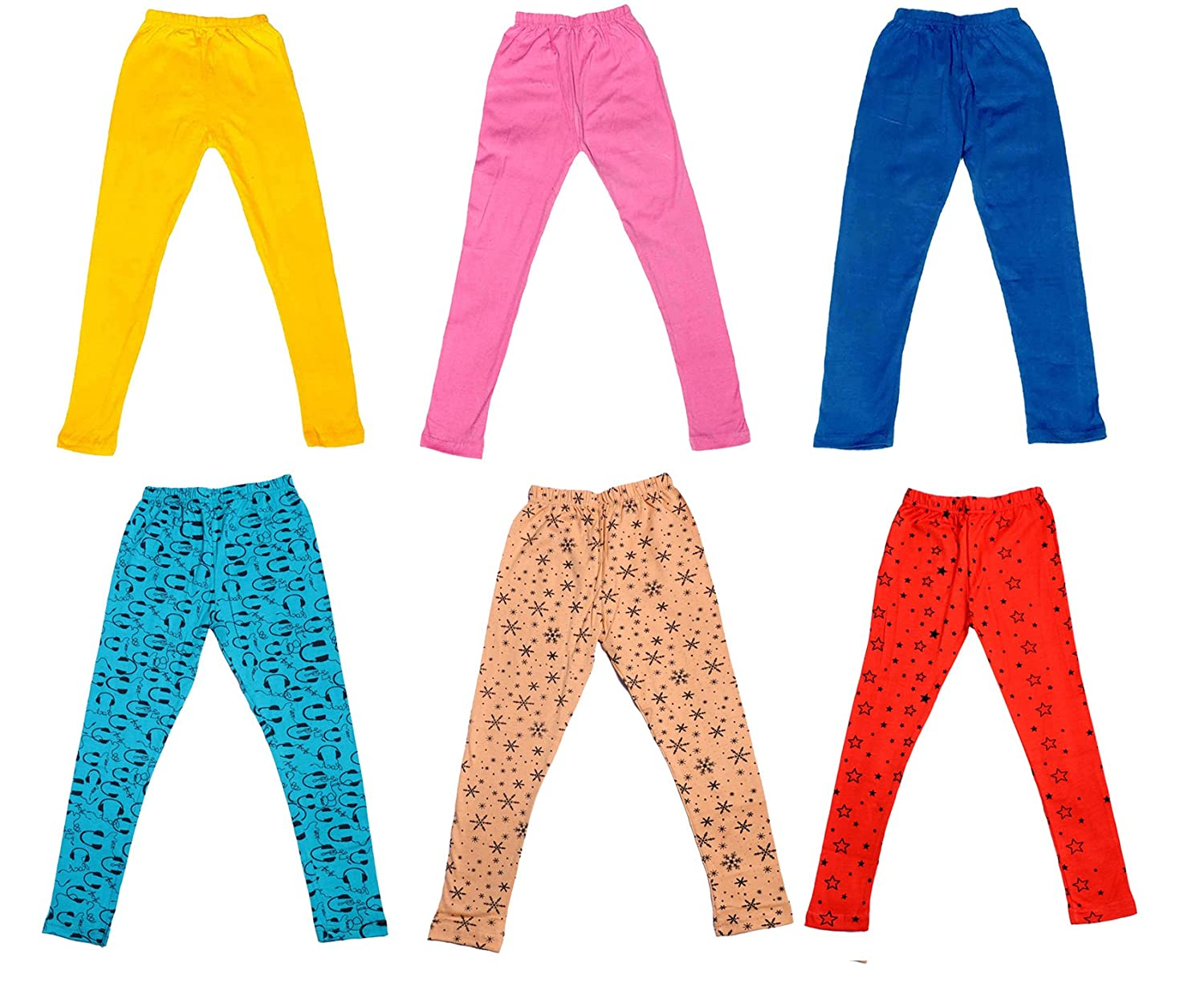 /_Multicolor/_Size-4-5 Years/_714070809161719-IW-P6-26 and 3 Cotton Printed Legging Pants Indistar Girls 3 Cotton Solid Legging Pants Pack Of 6