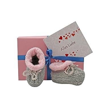 Geschenk Baby Baby Geschenkset Schuhchen Grau Rosa Geschenkbox