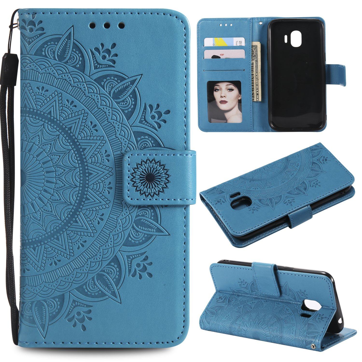 Galaxy J2 Pro 2018 Floral Wallet Case,Galaxy J2 Pro 2018 Strap Flip Case,Leecase Embossed Totem Flower Design Pu Leather Bookstyle Stand Flip Case for Samsung Galaxy J2 Pro 2018-Blue