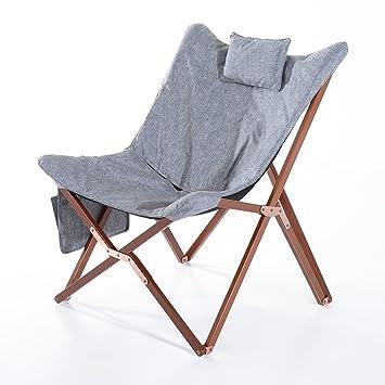 Captivating HomCom 37u201d Fabric Folding Butterfly Chair   Light Gray