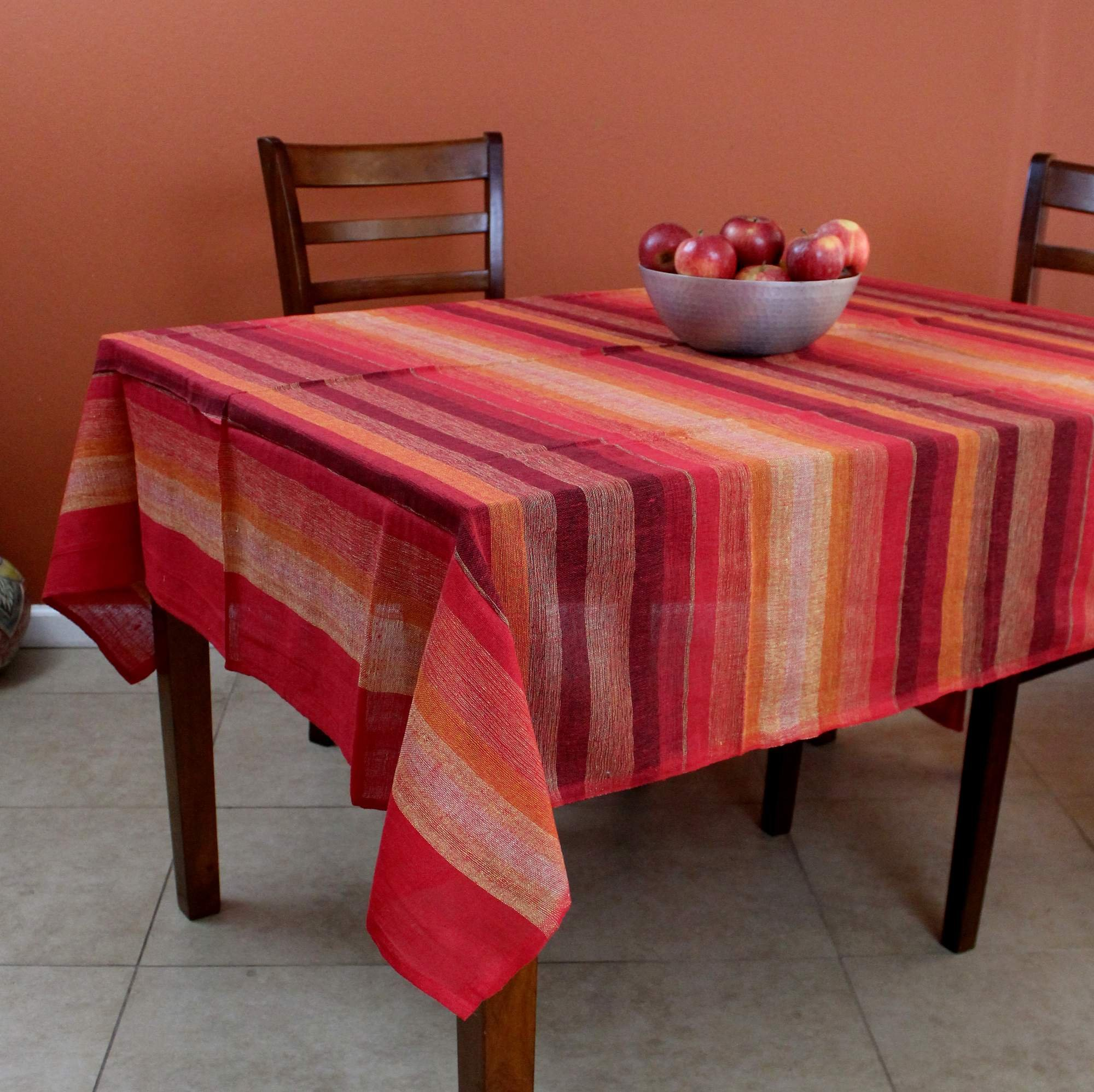 India Arts Cotton Striped Tablecloth Rectangular Tapestry Wall Hanging Throw Lightweight Bedspread (Twin, Red)