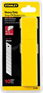 Stanley 11-325T 25mm Heavy Duty Quick-Point Snap-Off Blades with Dispenser, Pack of 10