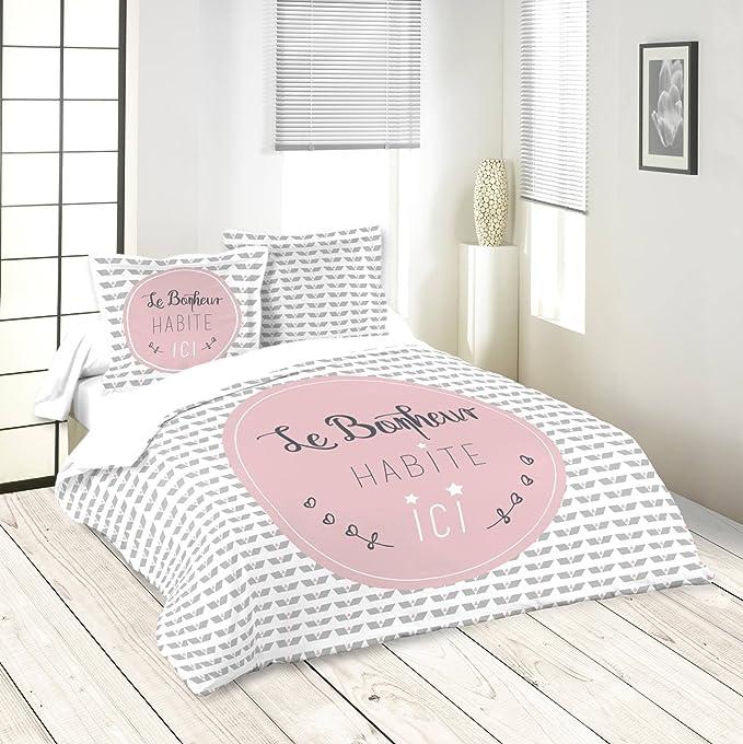 2 TAIES 63X63 CM Rose LOVELY CASA Joie Housse DE Couette 240X220 CM Coton