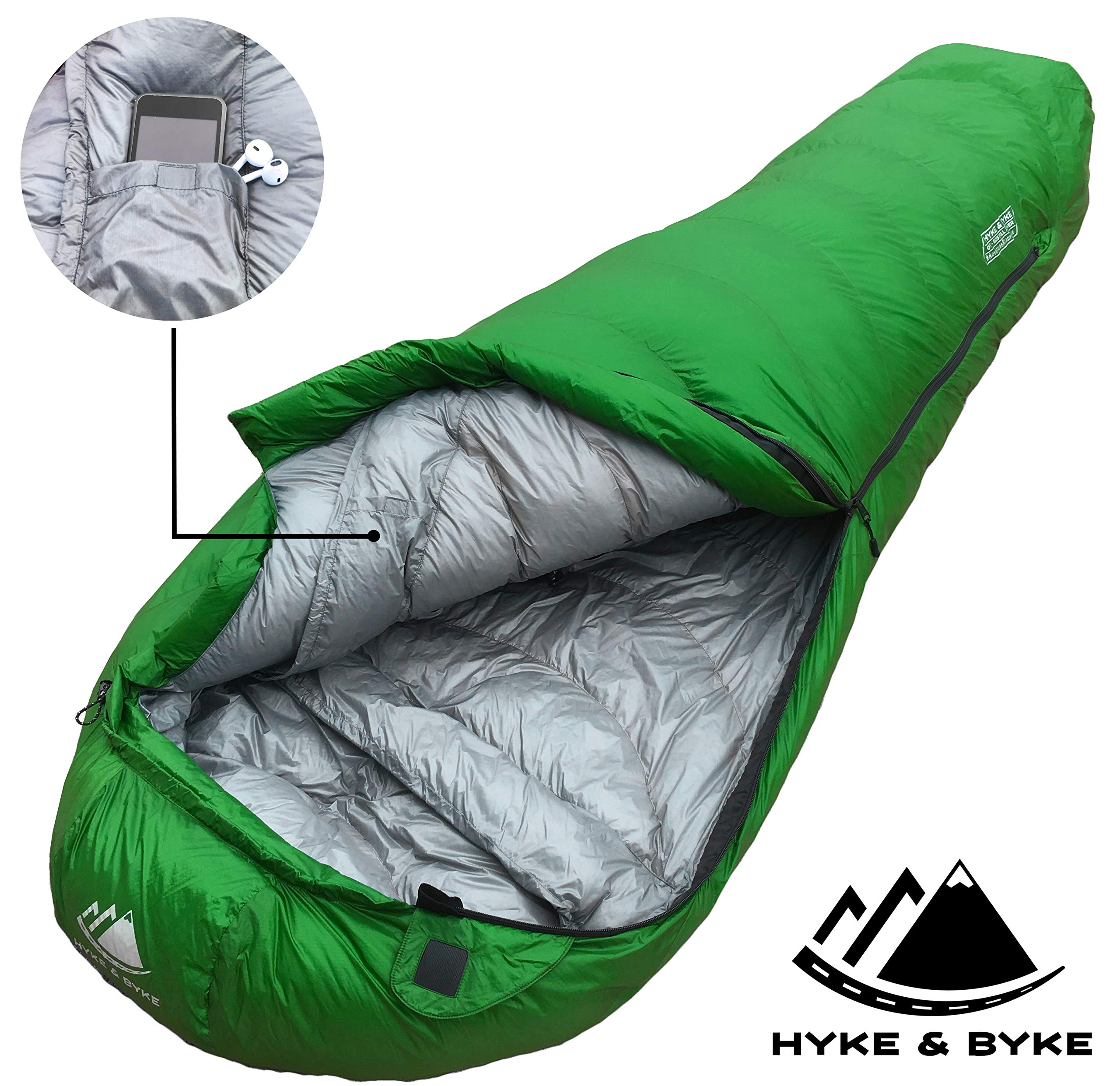 0 Degree Backpacking Sleeping Bag - Zero F Ultralight Mummy Bag for Cold Weather, Lightweight Synthetic Goose Down Like 625 Fill Power Bag For Men's and Women's Winter Camping (Forest Green, Regular) 6