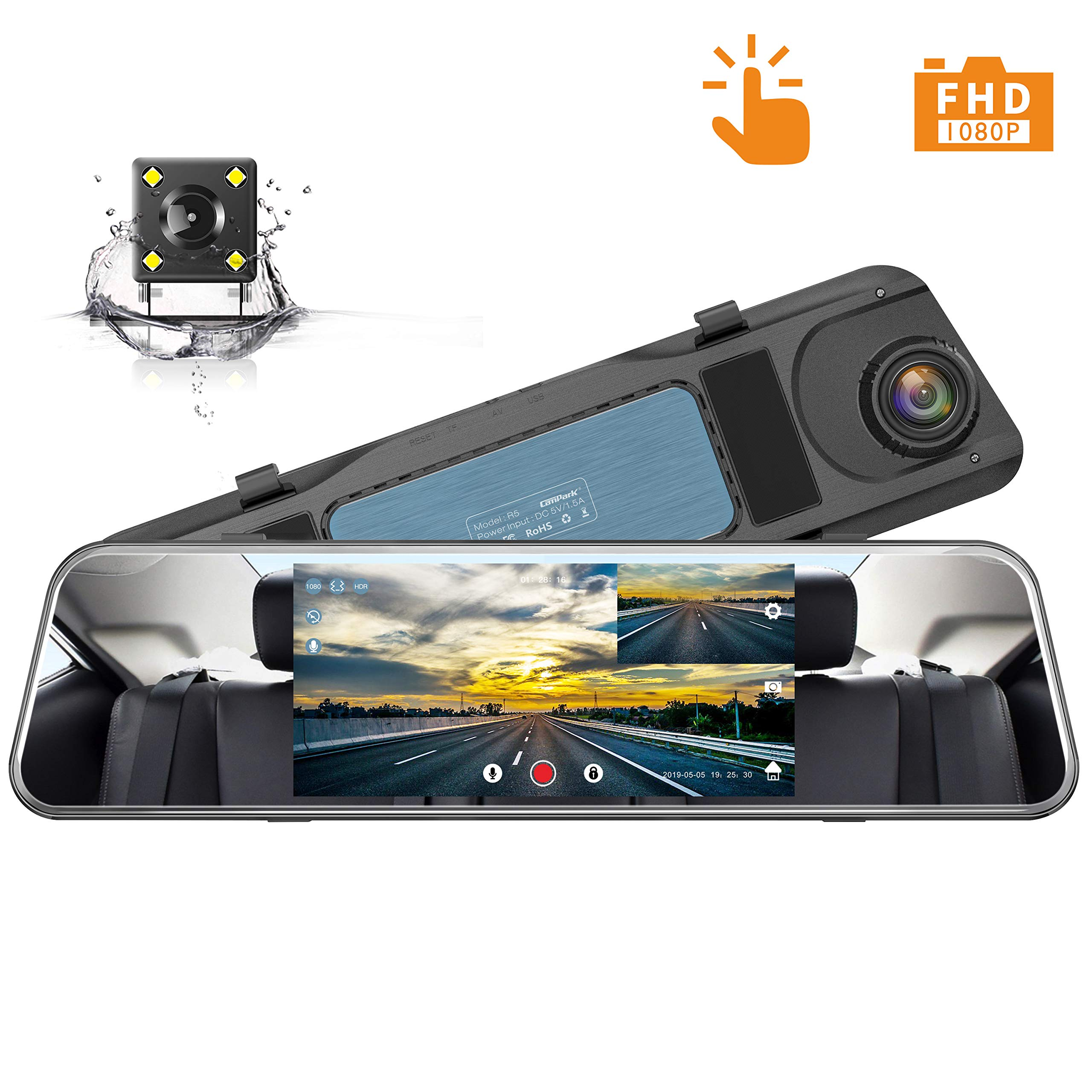 Campark Backup Camera 1080P Mirror Dash Cam 5 inch Touch Screen Rearview Front and Rear Dual Lens Dashboard Recorder with Waterproof Reversing Camera by Campark