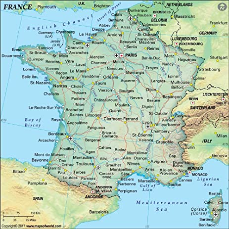 Amazoncom France Political Map Laminated 36 W x 36 H
