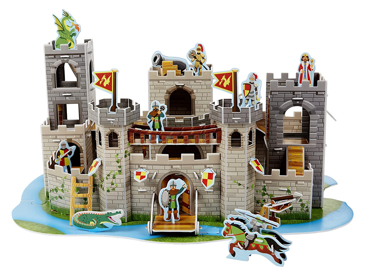 Melissa & Doug Medieval Castle 3-D Puzzle and Play Set - Dragon and Knights (100 pcs) Game Melissa and Doug 9046