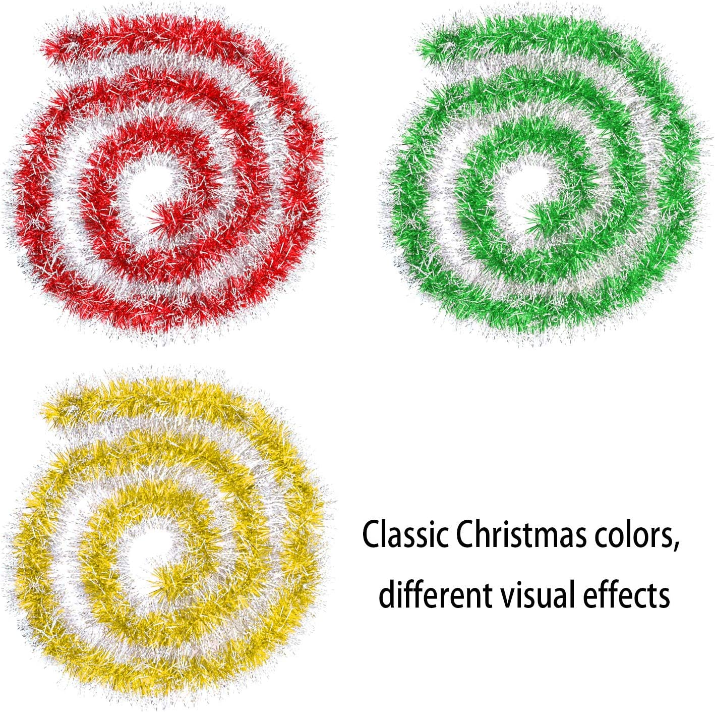 Gold Red Green Mixed Color Elcoho 6 Pieces Christmas Tinsel Garland Classic Shiny Sparkly Party Soft Tinsel Christmas Tree Ceiling Hanging Decorations