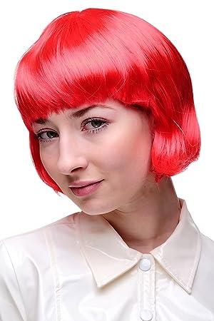 Peluca corta, color rojo, fiesta, disco.