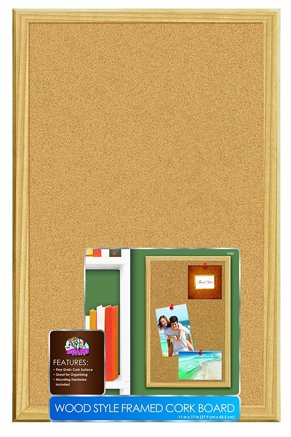 Board Dudes 11 x 17 Inches Wood Style Framed Cork Board (9160) Mattel CXM88