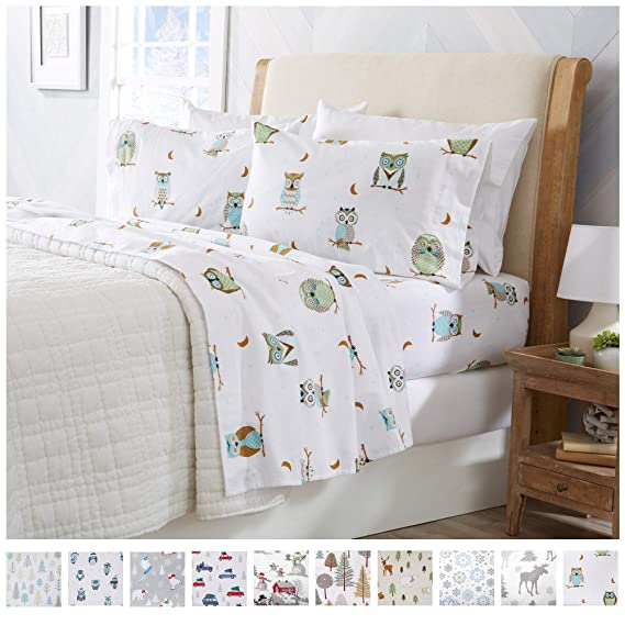 Flannel Sheets King Winter Bed Sheets Flannel Sheet Set Hooting Owls Flannel Sheets 100% Turkish Cotton Flannel Sheet Set. Stratton Collection (King, Hooting Owls) best queen-sized flannel sheet sets