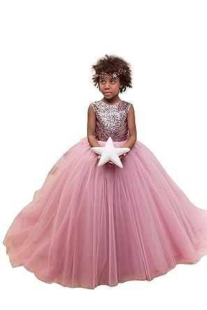 27e2bb3c31e Ball Gown Long Flower Girls Dresses Pink Sequins Tulle Flower Girls Dresses  For Wedding Size 2