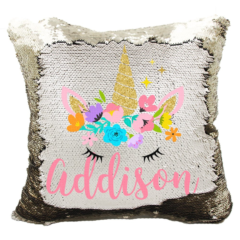 Personalized Mermaid Reversible Sequin Pillow, Custom Unicorn Sequin Pillow for Girls (Champagne/Gold)