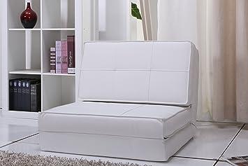 Artdeco poltrona letto rivestimento in fintapelle bianco