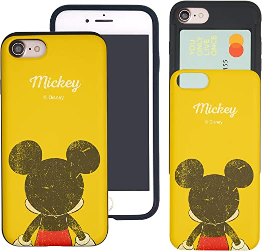WiLLBee Compatible with iPhone 8 Plus/iPhone 7 Plus Case Dual Layer Card Slide Slot Wallet Bumper Cover - Back Mickey Mouse