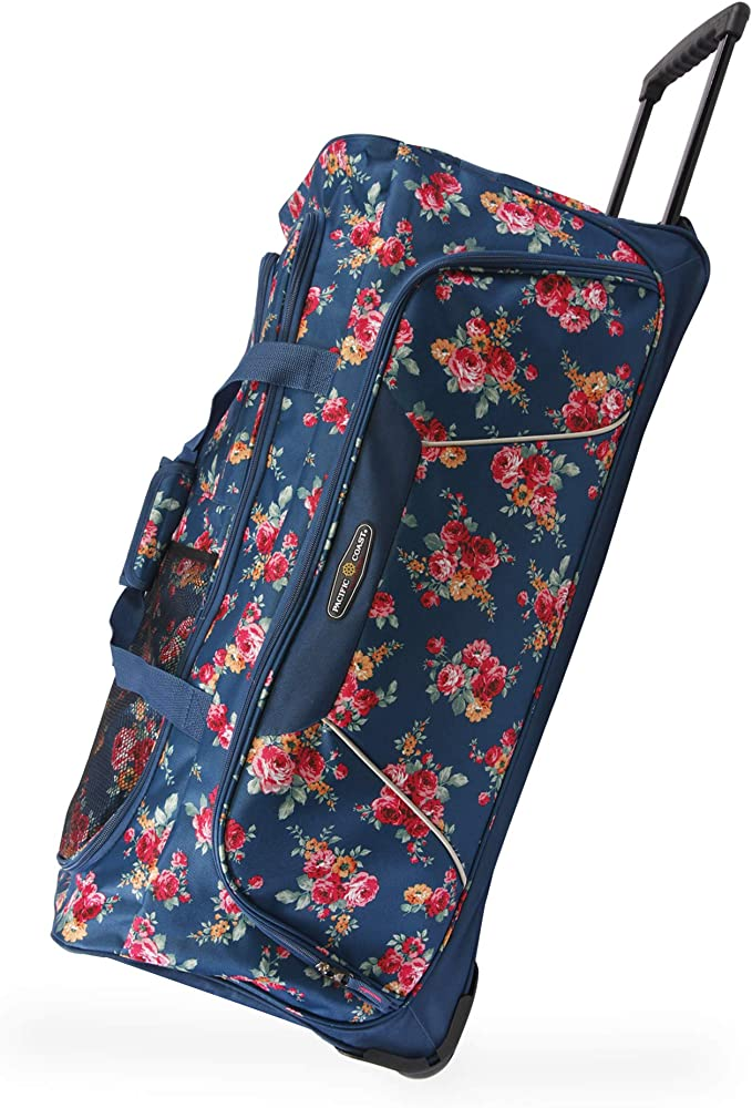 """Pacific Coast Signature Women's 32"""" Large Rolling Duffel Bag, Rose Garden Navy, One Size"""