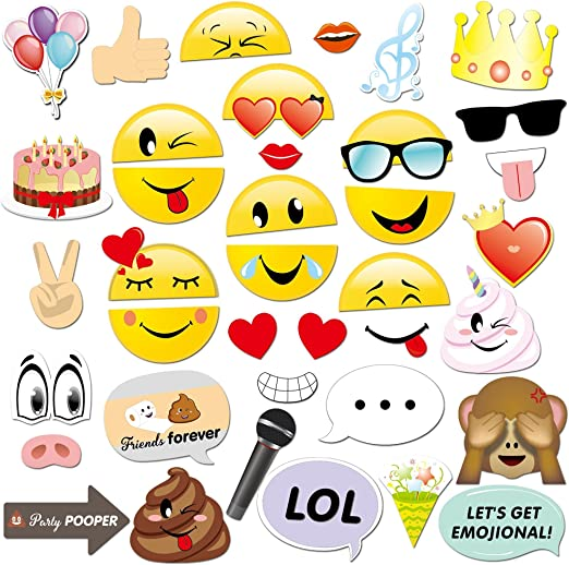 Show your Emojions Party Supplies Emoji 3 Pack Photo Prop Foil Balloons