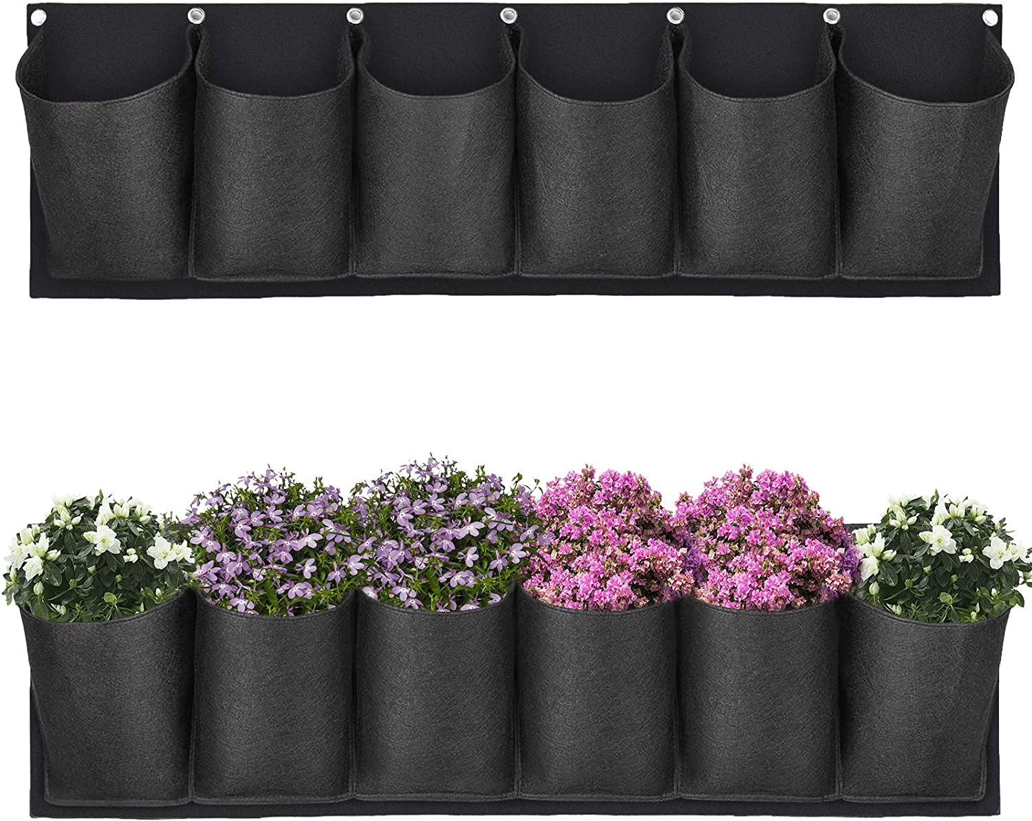 Hanging Planter Bags Waterproof 6 Pocket Garden Horizontal Planter Bags Wall-Mounted Felt Planting Grow Bags Outdoor Indoor Gardening Flower Container Plant Grow Bag for Flower Vegetable