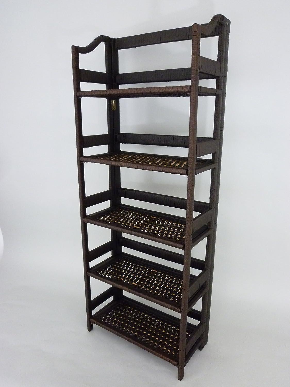 Modernes Regal aus Pappe in Rattan-Optik; 49,5cm x 29cm x x x 133cm 420549