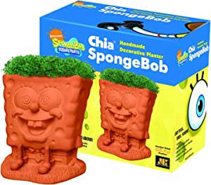 Chia Pet SpongeBob with Seed Pack, Decorative Pottery Planter, Easy to Do and Fun to Grow, Novelty Gift, Perfect for Any Occasion