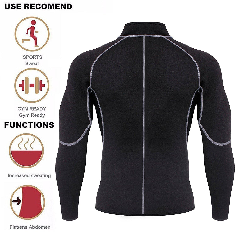 94cce84d80c Men Sweat Neoprene Weight Loss Sauna Suit Workout Shirt Body Shaper Fitness  Jacket Gym Top Clothes Shapewear Long Sleeve (Black