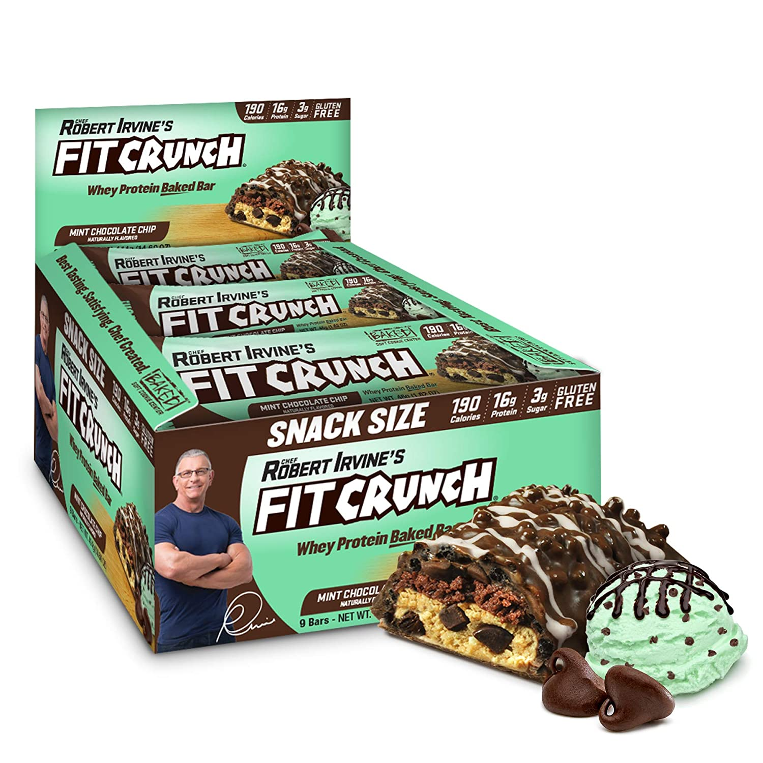 FITCRUNCH Snack Size Protein Bars, Designed by Robert Irvine, World's Only 6-Layer Baked Bar, Just 3g of Sugar & Soft Cake Core (9 Snack Size Bars, Mint Chocolate Chip)