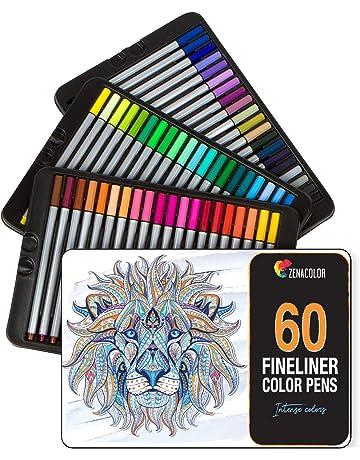 60 rotuladores punta fina Zenacolor - 60 colores únicos - Bolígrafo fineliner 0,4 mm