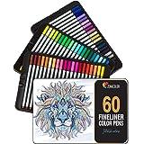 60 Pennarelli a Punta Fine, Fineliners Zenacolor - 60 Colori Unici – Penne FineLiner 0.4mm – Inchiostro a Base d'Acqua – Calligrafia, Disegno, Scrittura, Colorazione per Adulti, Fumetti, Manga