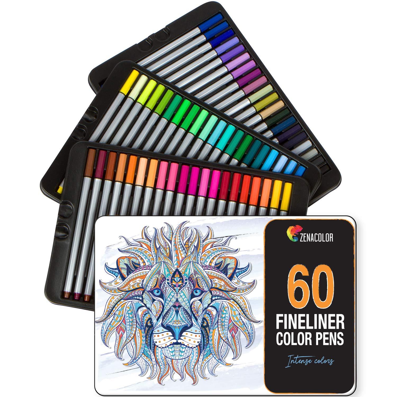 60 rotuladores punta fina Zenacolor - 60 colores únicos - Bolígrafo fineliner 0,4 mm - Tinta base agua - Perfectos para colorear (adultos), dibujar, manga, caligrafía o trabajos que requieran preción. Twinz Products