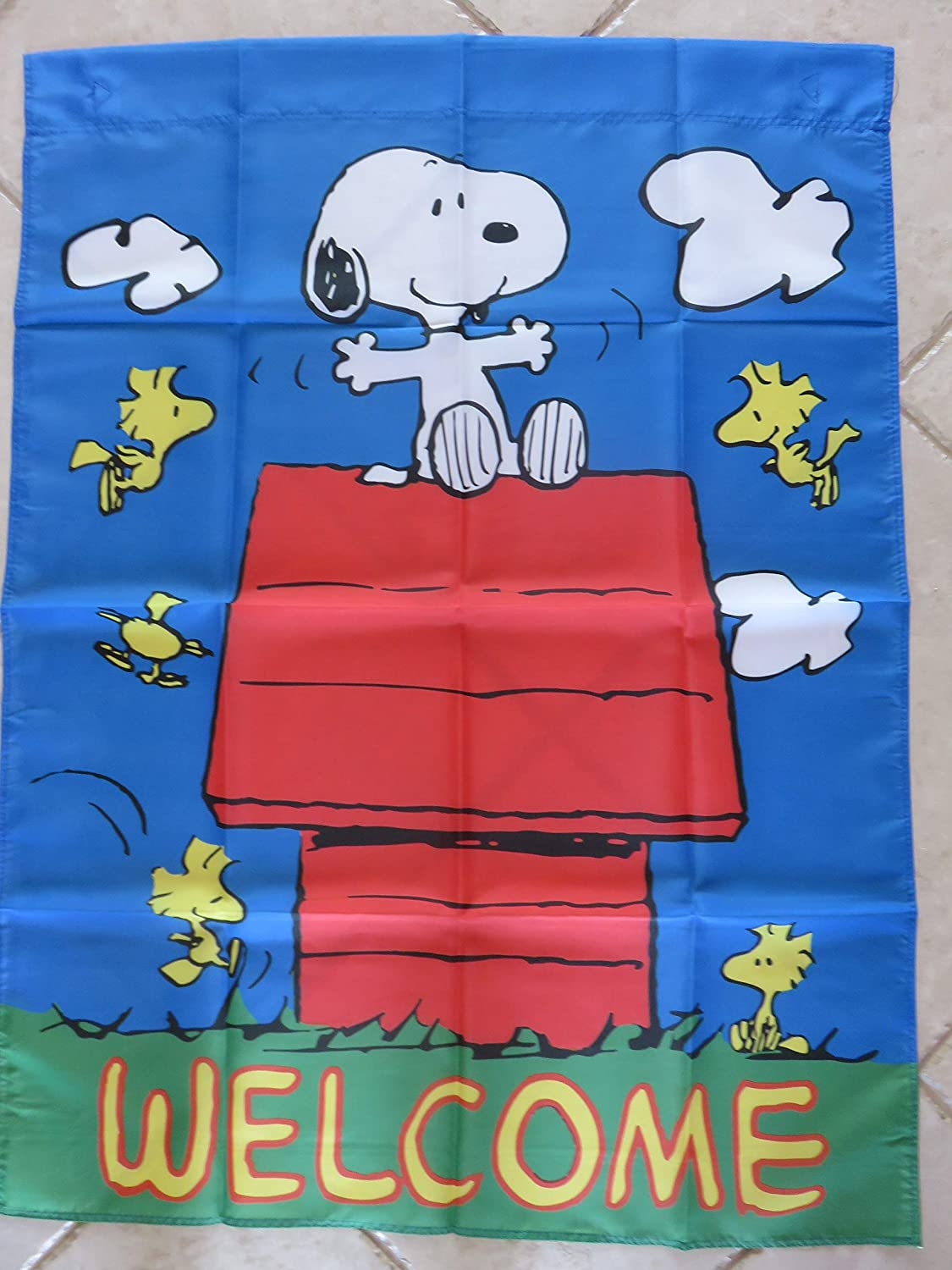Peanuts Snoopy Woodstock Welcome House Yard Flag Large