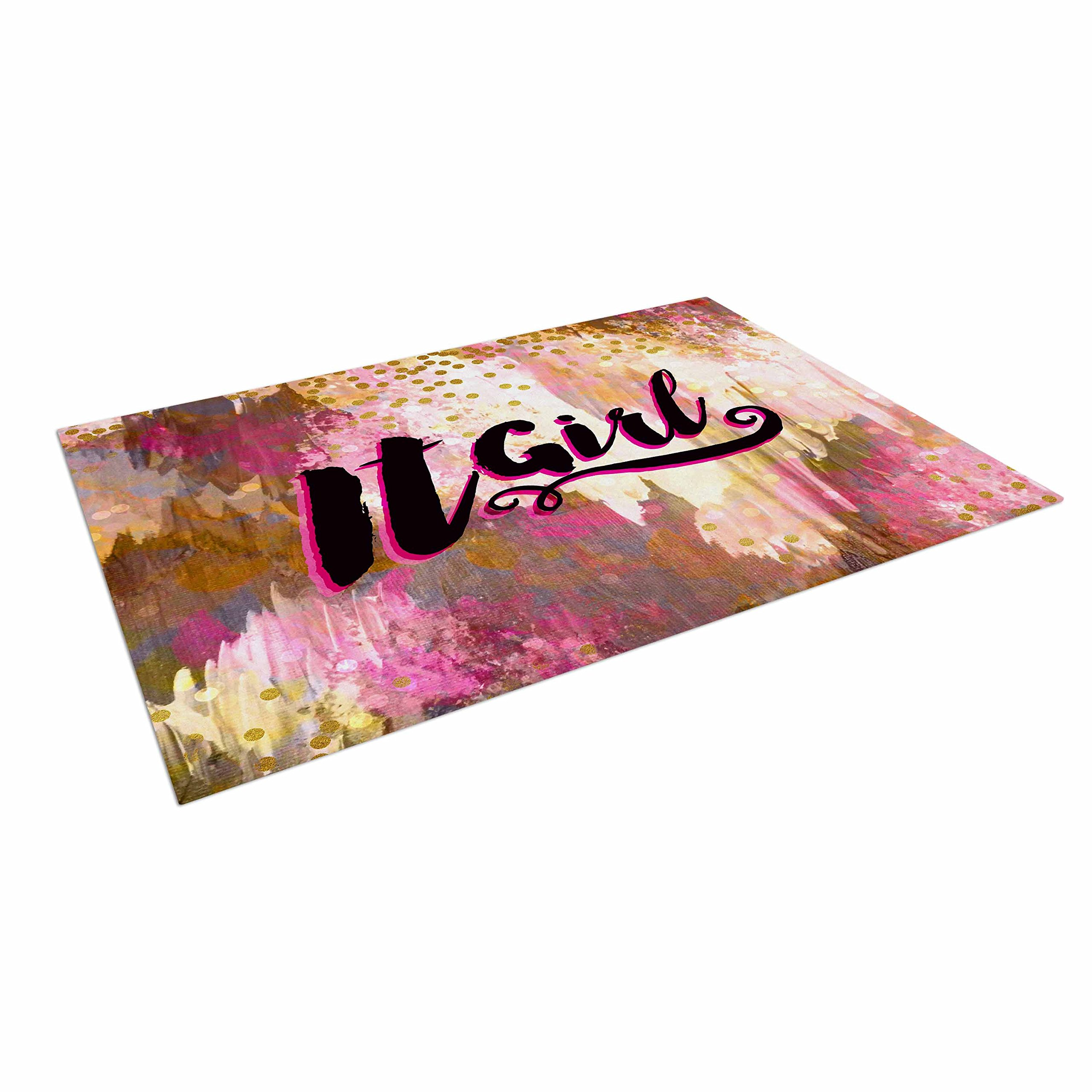 KESS InHouse Ebi Emporium ''It Girl-Black & Pink'' Black Outdoor Floor Mat, 4' x 5'