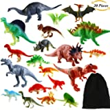 Aneco 20 Pack Realistic Looking Dinosaurs Kids Toys Set Assorted Dinosaur Figures Party Favors Toys with Flannelette Storage Bag, Multiple Styles and Colors
