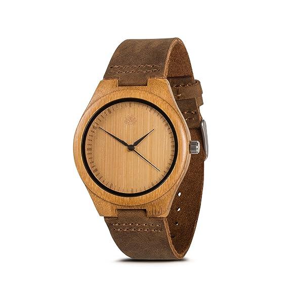 zeitime Madera Reloj de madera de bambú | Woody | 100% real de piel Armand | Producto natural | Hombre y Mujer Madera Reloj de pulsera: Amazon.es: Relojes