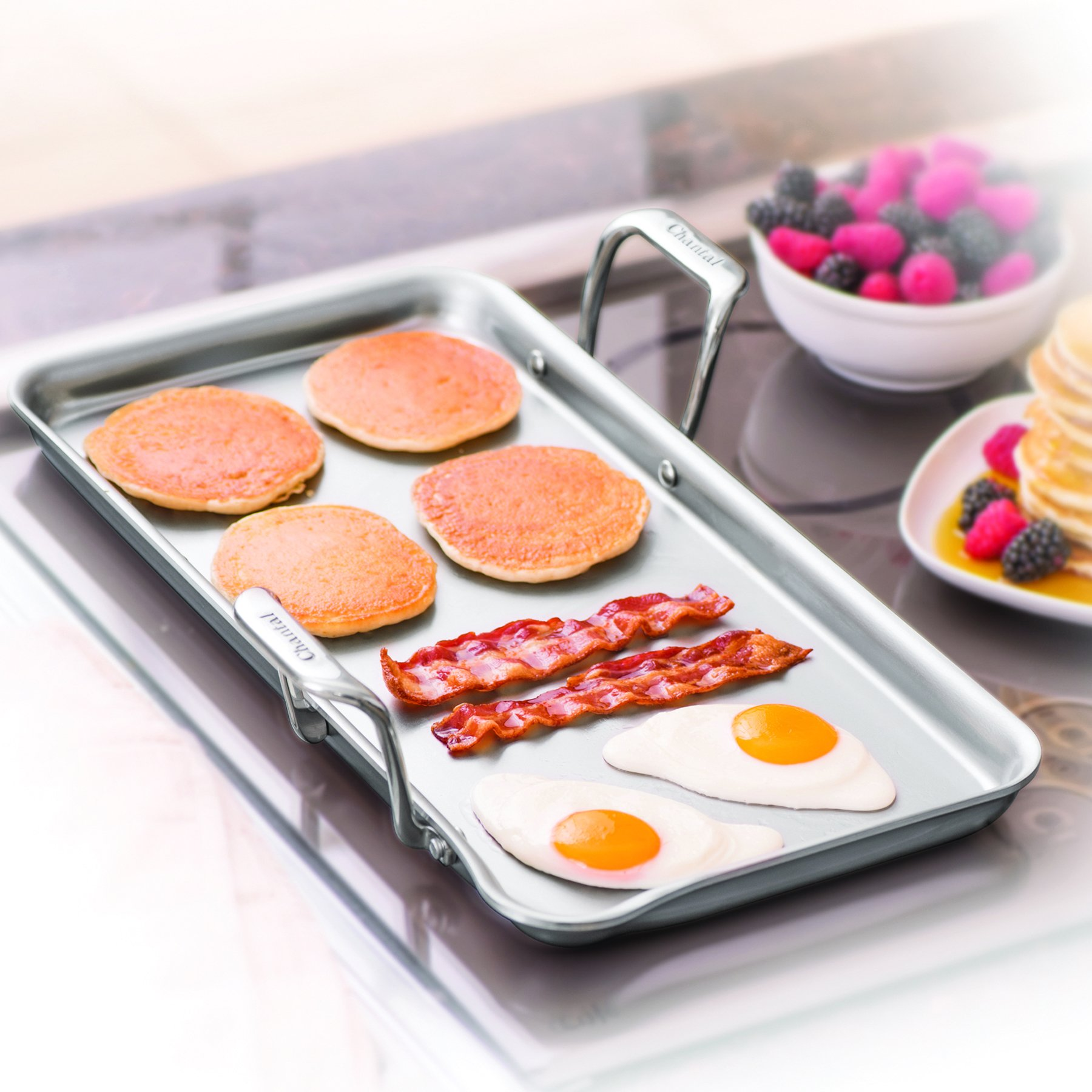 Chantal SLT60-48C Spacious Stainless Steel Griddle 19'' x 9.5''
