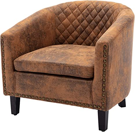 Barrel Accent Chair with Arms Microfiber Club Chairs Bucket Chair  Upholstered Tub Chair for Living Room Bedroom (Light Coffee)