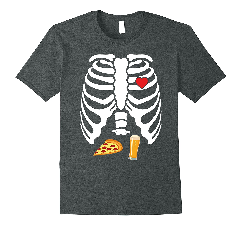 Skeleton Pregnancy Pizza Beer X-Ray Halloween Shirt-Awarplus