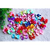 Yagapet 50pcs/pack Cute New Dog Hair Bows Topknot Rhinestone Pearls Flowers Topknot Mix Styles Dog Bows Pet Grooming Products Mix Colors Pet Hair Bows Topknot Rubber Bands Dog Grooming Products
